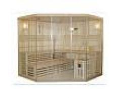 VOGUE SAUNA Sauna tradicional finlandesa rinconera IMATRA - 4/5 plazas - Acristalada - Gama Prestige