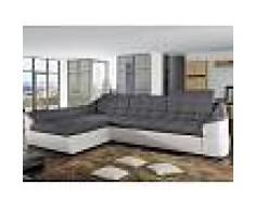 Venta-unica Sofá cama rinconero tapizado de tela y piel sintética FAREZ - Bicolor gris y blanco - Ángulo izquierdo