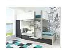 Venta-unica Cama litera con cajón cama nido ANTONIO - 3x90x190 cm - Armario integrado - Pino gris antracita y blanco