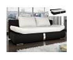 Venta-unica Sofá cama 2 plazas de piel sintética JADEN - Bicolor blanco y negro
