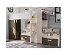 Venta-unica Cama litera JULIEN - 2x90x190 cm - Armario integrado - Pino blanco y chocolate