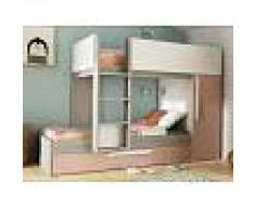 Venta-unica Cama litera con cajón cama nido ANTONIO - 3x90x190 cm - Armario integrado - Pino rosa y blanco
