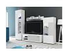 Venta-unica Mueble TV COURTNEY con compartimentos - LEDs - Blanco con puertas con acabado simulando el cemento