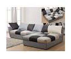 Venta-unica Sofá cama rinconero de tela ROMANE - Negro y gris - Ángulo derecho