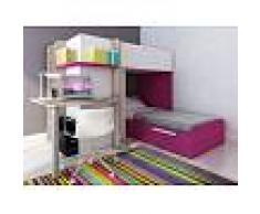 Venta-unica Cama litera SAMUEL - 2x90x190 cm - Escritorio integrado - Pino blanco/rosa