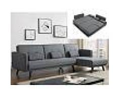 Venta-unica Sofá cama modular CALOBRA tapizado de tela - Gris claro