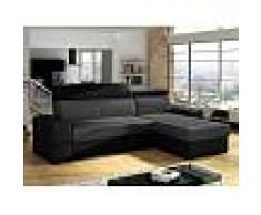 Venta-unica Sofá-cama rinconero y reversible VALMY de tela y piel sintética - Antracita y negro