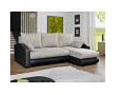 Venta-unica Sofá cama rinconero de orientación reversible tapizado de piel sintética y tela PIANA - Gris jaspeado y negro
